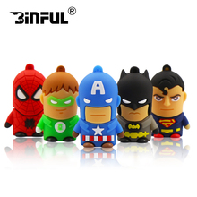Superhero Superman/Batman/Captain America/Spiderman pendrive 4GB 8GB 16GB cheap Usb flash drive 32GB 64GB cartoon pen drive(China)