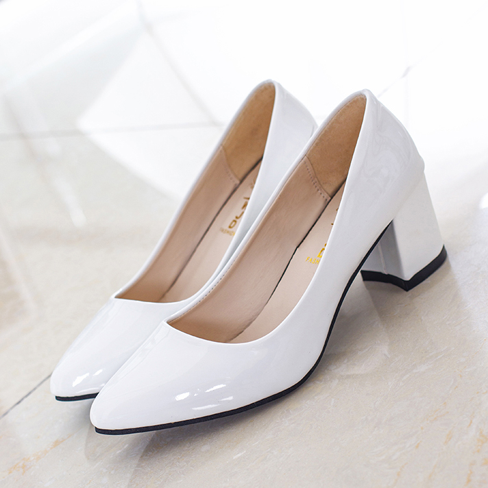 Spring Women Pumps Pointed Toe White wedding Shoes Square Heel Shoes leasther Basic Pump Woman Solid Low heel shoes Plus Size 41<br><br>Aliexpress