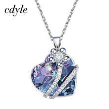 Cdyle Valentine's Day Gift Necklace Women Pendants Crystals From Swarovski Heart Shaped Luxury Copper Jewelry Geometric Retro(China)