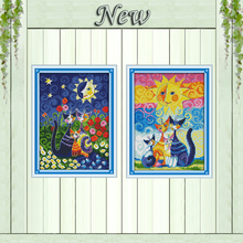 Cats under the sun cartoon animal painting counted print on canvas DMC 11CT 14CT kit DMS Cross Stitch embroidery needlework Sets