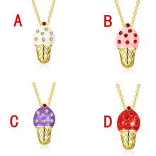 Fashion Ice Cream Shape Pendant Inlay Rhinestone Adjustable Gold Chain Necklaces For Lady Girl Jewelry CX17