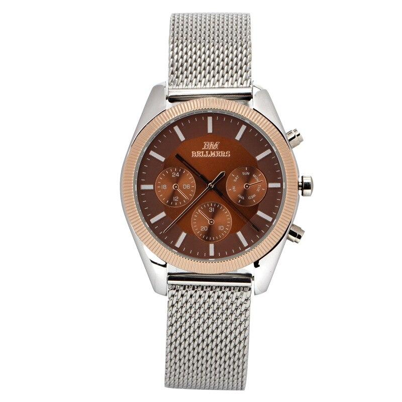 Date Day Stainless Steel BELLMERS Hours Clock Men Casual Quartz Watch Sport Wristwatch New Brand Mens Watch Relogio Masculino<br><br>Aliexpress
