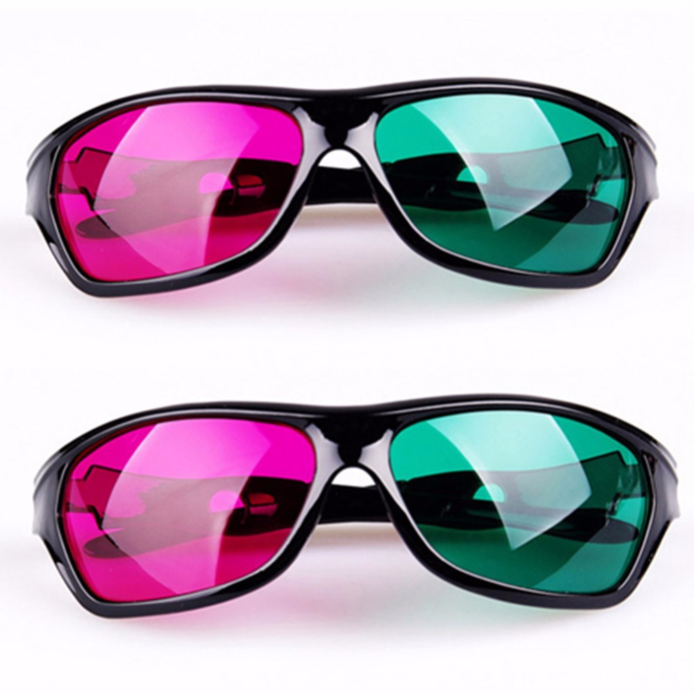 Red Green Plastic 3D Glasses-2