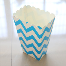 18pc/lot light blue Party Popcorn Cups Happy Birthday Decoration Wedding wave pattern Gift box Candy Boxes Supplies kids Favors(China)