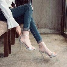 Teahoo Summer Golden Lock Gladiator Sandals Women Ankle Strap High Heels  Sandals Open Toe Pumps Fashion Party Dress Shoes Woman ca24de27804b