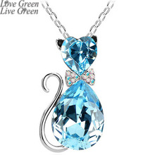 2017 NEW gift brand design girl women accesorries jewelry Austrian crystal Cat catty GP Pendant Chain Necklace 84575(China)