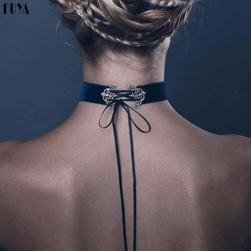 Fashion Velvet Sculpted Long Ribbons Pendant Bow Tie Lint Rope Choker Punk Collar Necklace For Women Leather Suede Colar Jewelry(China)