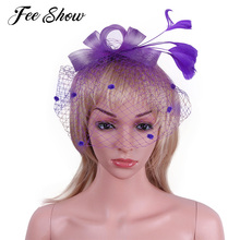 New Fashion Women Lady Party Kentucky Derby Swirl Bow Netted Fascinator Feather Bowknot Hat Cocktail Bridal Hair Clips Headwear