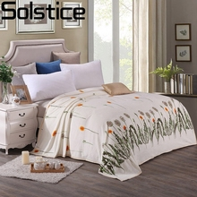Solstlce Cyan Dandelion Styles Winter Soft Warm Flannel Fabric Blanket Adult Bedding Sofa / Bed / Quilt / Covered Blanket 4 Size