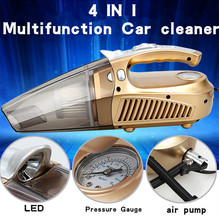 4 in 1 Portable 60W Car vacuum Cleaner With LED lamp + Measuring tire pressure + Tire pump Function