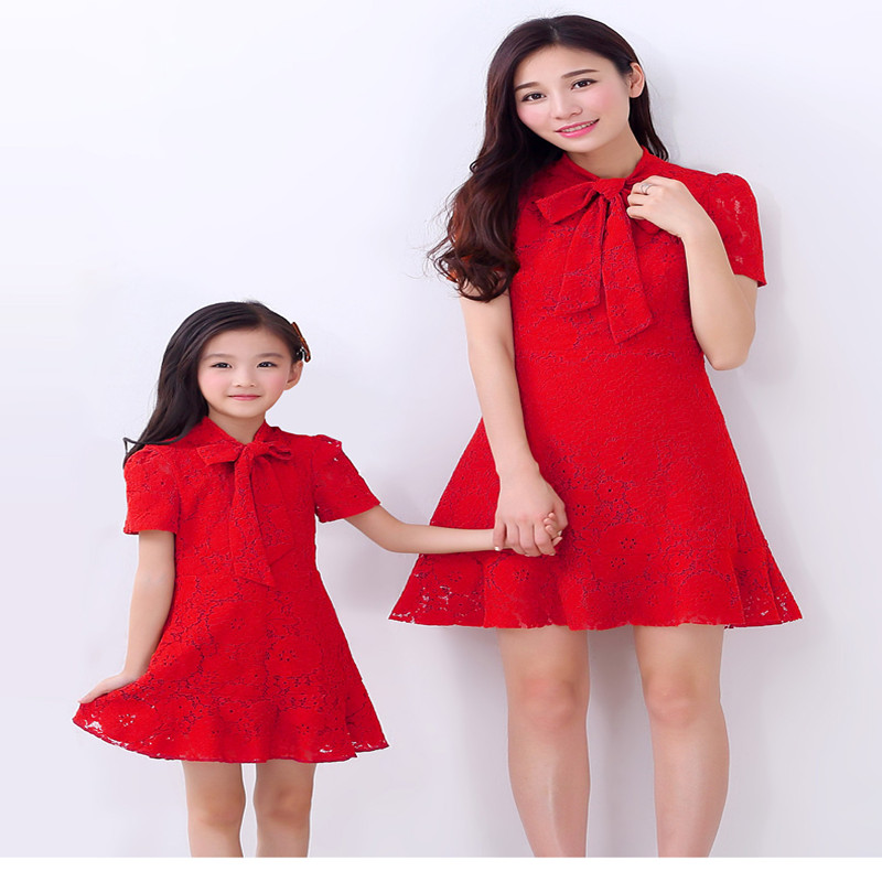 Maggies Walker summer mother and daughter red lace dress mother summer lady dress girl bow decorated dress family elegant dress<br>