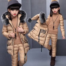 2017 Girls Winter Super Clothes Set 3pieces Vest+pullover+pants Suit Thickened Letters Faux Fur Collar Can Be Detached(China)