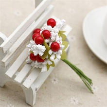 10 pcs Silk Mousse Stamen Main Berry Artificial Flower Wedding Decoration Garland Gift Box DIY Scrapbooking Craft Fake Flower