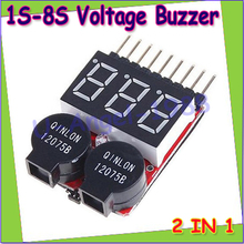 5pcs/lot Lipo Battery Voltage Tester volt meter monitor buzzer Alarm 1-8s3.7V-22.2V
