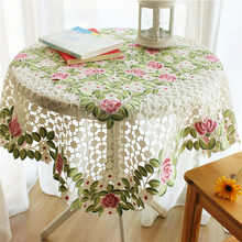 85*85cm floral embroidered table cover round cloth tea lace table cloths for wedding decoration Christmas round table cove