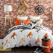 Horse 100% sanding cotton Winter duvet cover Geometry flat sheet pillowcase 4PCS complete bedding set queen king kids(China)