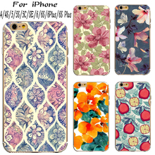Hard PC Phone Cover Cases For Apple iPhone 4 4S 5 5S SE 6 6S Plus 6S+ Case Shell Painted With Sketch Of The Flowers