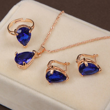 Fashion Gold-color Jewelry Set Clover Style Necklace & Earring&Ring For Wedding Accessories Royal Blue Jewelry Set
