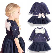 Baby Gril Clothes Sets Long Sleeved Bow Girls Cotton Tops T-shirt+TuTu Lace Skirt Children's Skirt Suit Kids Clothes  Autumn V49