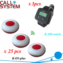 Waiter button calling system 3 wrist pager with 25 pieces guest buzzer for service(China)