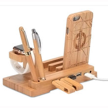 Best Organiser Bamboo Wood Charging Dock Station Charger Holder Stand USB Hub For Apple Watch for iPhone 5 6 7 Plus for Samsung