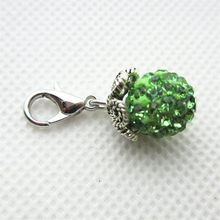 Hot selling 10pcs/lot green rhinestone crystal round dangle charms lobster clasp charms for glass floating lockets charms(China)