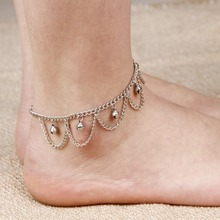 2016 fashion small bell anklet for women female summer silver plated chain ankle bracelet foot jewelry