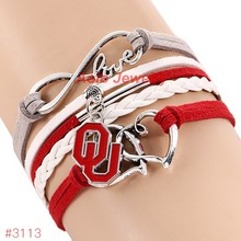 Infinity Love Oklahoma Sooners College Football Team Bracelet 2016 New Leather Bracelet Fans Jewelry 6Pcs/Lot ! Free Shipping!