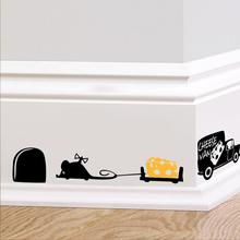 Funny Mouse hole kitchen wall stickers creative rat hole cartoon wall stickers bedroom living room mice wall Decals