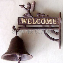 Village Rustic Cast Iron Hanging Angel Welcome Bell Dinner Bells Wall Mounted Home Office Bar Shop Store Pub Decor Free Shipping(China)