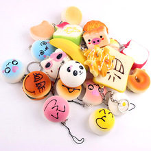 squishies wholesale 10pcs mixed kawaii hello kitty donut squishy charm strap for mobile phone slow rise squishy soft hanpillow(China)
