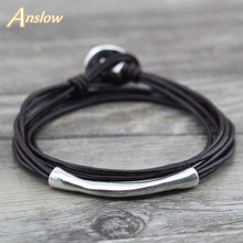 Buy Anslow Fashion Jewelry New Arrivals Unisex Students Leather Bracelet Multilayer Love Couple Men Mather's Day Gift LOW0577LB for $1.91 in AliExpress store