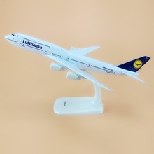 Alloy Metal Air German Lufthansa Airlines B747 Airplane Model Lufthansa Boeing 747 Airways Plane Model Stand Aircraft Gifts 20cm(China)
