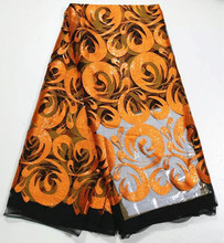 Luxury African black net lace fabric with orange embroidery and sequins French tulle lace material for dress 4F11-1