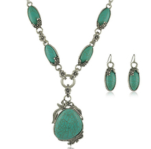 nvshirl 10 pieces wholesale wedding jewelry ethnic retro silver plated Women turquoise jewelry sets necklace earrings smnv241
