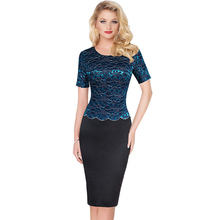 Elegant Women Elegant Patchwork Embroideried Cocktail Party Bodycon Sheath Bodycon Short Sleeve Knee Length Wear to Work Dress