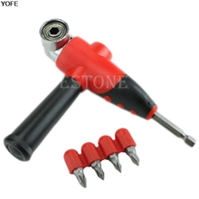 Angle bit driver adapter with bits and side handle for power drill driver tool