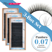 3pcs/lot 3D-6D Pandora Volume Eyelash Extensions different length Mixed Length in One Lash Strip Fancy Packing Lash Box(China)