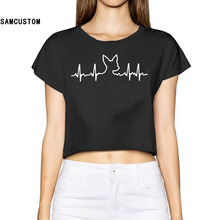 SAMCUSTOM Blusa Limited Tumblr 2017 Dog Heartbeat Infant 3d Fashion Street T Shirt Chihuahua Bare-midriff Sexy T-shirt Women(China)