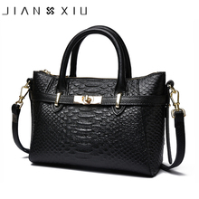 JIANXIU Brand Women Genuine Leather Handbags Famous Brands Handbag Cow Leather Crocodile Texture Messenger Shoulder Bags Tote(China)