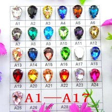 [A1-A17] Silver claw 7 sizes Various colors mix water drop tear drop glass Crystal Sew on rhinestone beads wedding dress diy