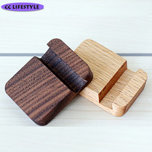 Creative wooden mobile phone holder black walnut square small mobile phone seat lazy solid wood mobile phone care Tableware(China)