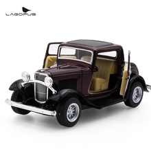1:32 Scale Car Toys KiNSMART Car Styling 1932 Ford 3-Window Coupe Metal Pull Back Car Model Toy Collection Gift For Kids New