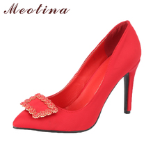 Meotina Sexy High Heels Women Shoes Stiletto Pointed Toe Crystal Thin High Heels Shoes Rhinestone Pumps Slip On Shoes 2018 Red(China)