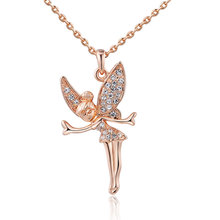 Fashion Guardian Angel Necklace Collier Rose Gold Colr Crystal Wing Tinkerbell Fairy Angel Pendant Tinker Bell Necklace Jewellry(China)