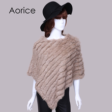 Aorice winter scarf Knitted rabbit fur shawl poncho stole cape scrap wrap women's garment Pashmina SAF012(China)