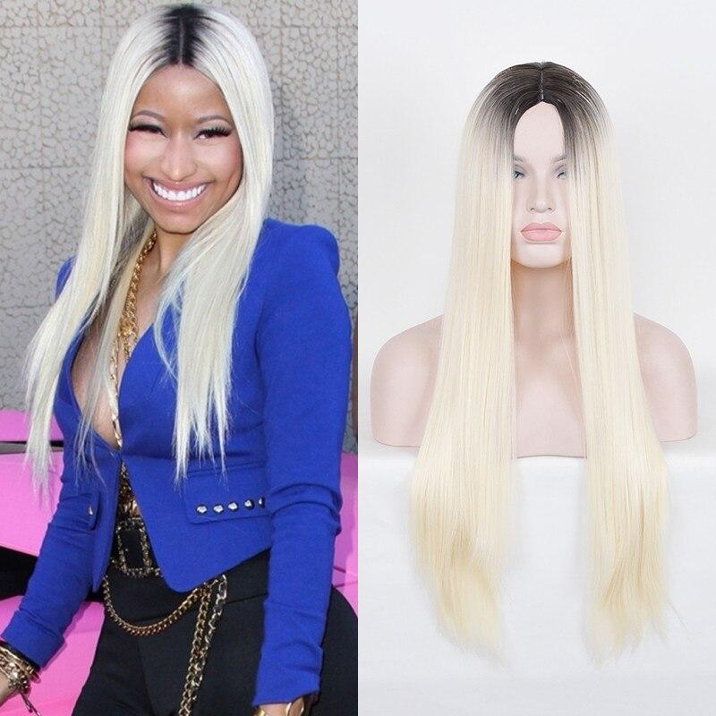 Nicki Minaj Hip-hop Singer Onika Tanya Maraj Cosplay Wig Long Straight Ombre Black Blonde Synthetic Wigs Rosa Hair Products<br><br>Aliexpress