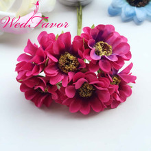 60pcs 4cm Artificial Chrysanthemum Silk Fabric Gerbera Daisy Flowers For Garland Hair Wrist Flower Corsage Wedding Decoration
