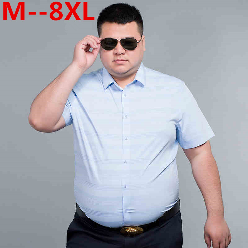plus 10XL 8XL 6XL Cotton Linen summer Loose Fit Casual Shirts short Sleeve striped Shirt Social Men Dress Shirts chemise homme