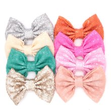 "300pcs/lot 32  colors DHL free shipping 5"" Big Sequin Messy Bow without clips, hair accessories hair bow"